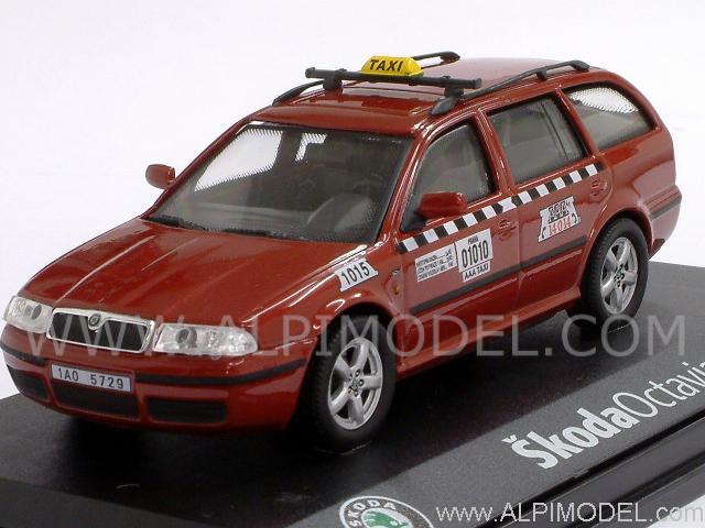 Abrex 143abx005xdb Skoda Octavia Combi Taxi Dark Red 1 43