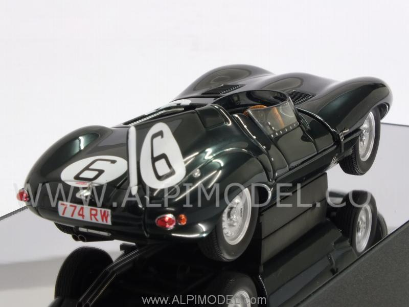 auto art jaguar d type 6 winner le mans 1955 hawthorn bueb with engine details 1 43 scale. Black Bedroom Furniture Sets. Home Design Ideas