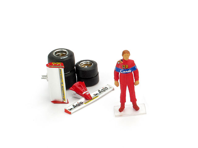 Didier Pironi figurine + Ferrari front and rear wings + qualifying tyres by brumm