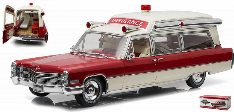 Cadillac S&S 1966 High Top Ambulance (Red/White) by greenlight
