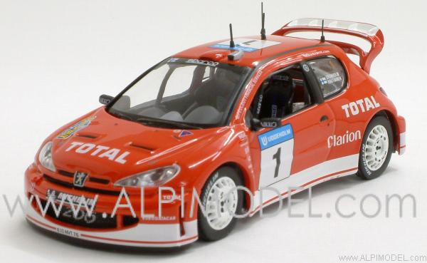 Peugeot 206 WRC M.Gronholm-T.Rautiainen Winner Swedish Rally 2003 by ixo-models