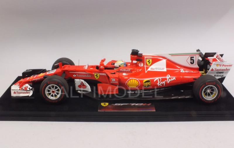 Ferrari SF70-H #5 Winner GP Monaco 2017 Sebastian Vettel (with display case) - looksmart