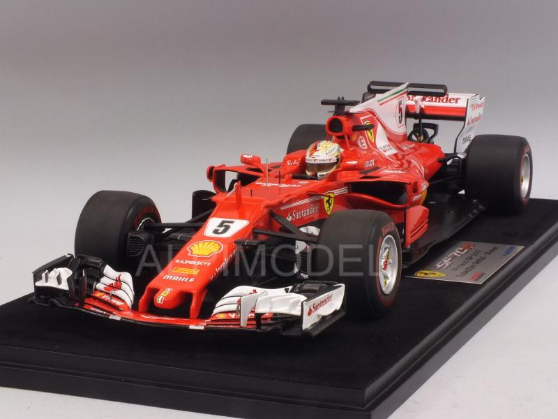 Ferrari SF70-H #5 Winner GP Monaco 2017 Sebastian Vettel (with display case) by looksmart