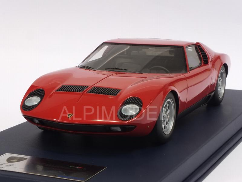 Lamborghini Miura P400 Paris Motorshow 1966 (Red) with display case by looksmart