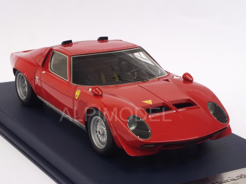 Lamborghini Miura Jota with air intakes 1970 (Red) with display case - looksmart