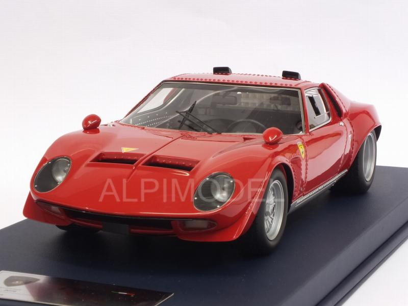 Lamborghini Miura Jota with air intakes 1970 (Red) with display case by looksmart