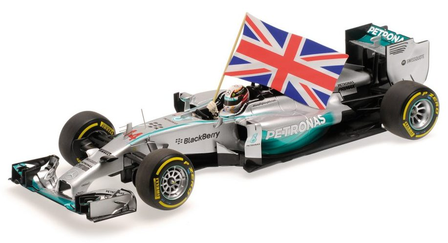 Mercedes W05 AMG Winner GP Abu Dhabi 2014  World Champion Lewis Hamilton (with flag) by minichamps