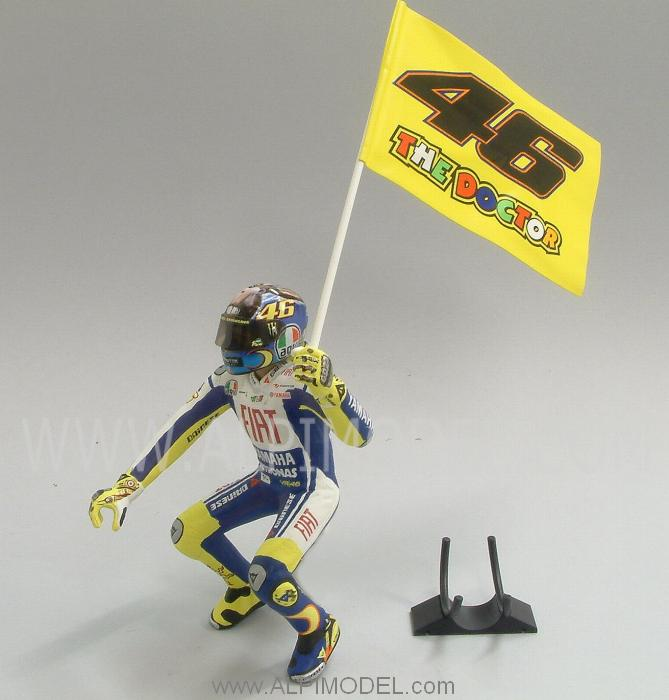 minichamps Valentino Rossi figurine MotoGP Misano 2009 with flag (1/12 scale model)