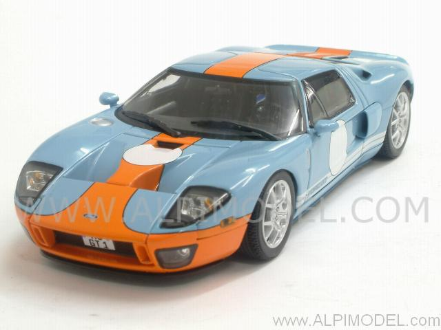 Ford Gt  Light Blue Orange By Minichamps