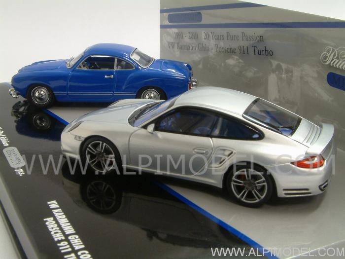 Porsche 911 Turbo 2010 + Volkswagen Karmann Ghia Coupe 1955 - 20 Years Pure Passion Minichamps Set - minichamps