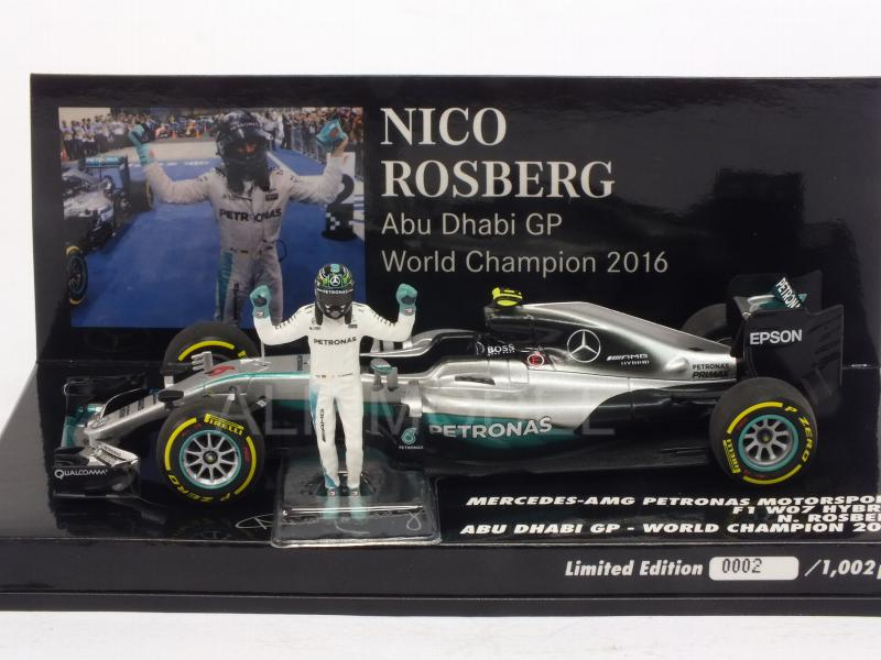 Mercedes W07 AMG Hybrid #6 GP Abu Dhabi 2016 World Champion 2016 Nico Rosberg (with figurine) - minichamps