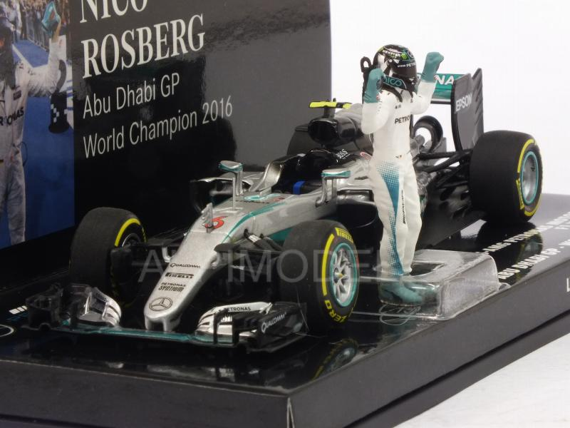 Mercedes W07 AMG Hybrid #6 GP Abu Dhabi 2016 World Champion 2016 Nico Rosberg (with figurine) by minichamps