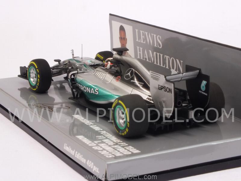 Mercedes AMG F1 W06 Hybrid GP Monaco 2015 World Champion Lewis Hamilton (HQ Resin) - minichamps