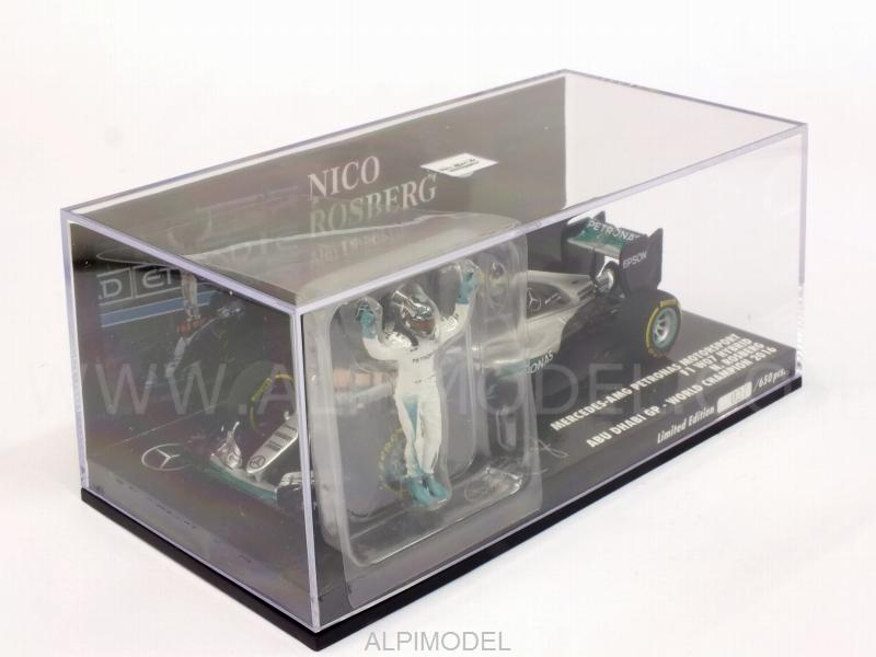 Mercedes W07 AMG Hybrid #6 GP Abu Dhabi 2016 World Champion Nico Rosberg (with figurine) (HQ resin) - minichamps