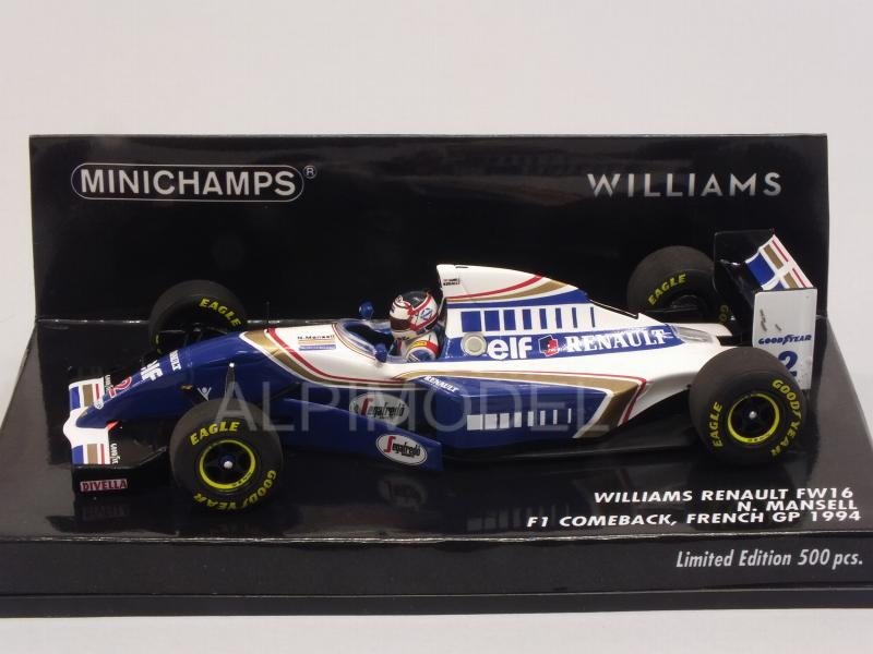 Williams FW16 Renault #2 GP France 1994 Nigel Mansell F1 Comeback - minichamps