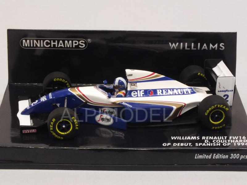 Williams FW16 Renault #2 GP Spain 1994 David Coulthard 1st GP - minichamps