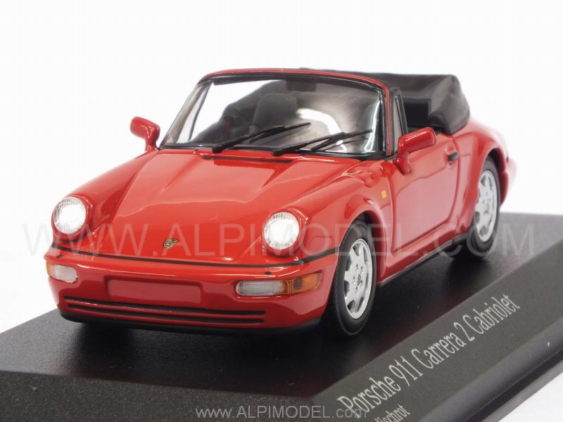 Porsche 911 Carrera 2 Cabriolet (964) 1990 (Indian Red) by minichamps