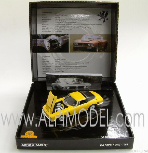 Iso Grifo 7 Litri 1968 Yellow (in Gift box) - minichamps