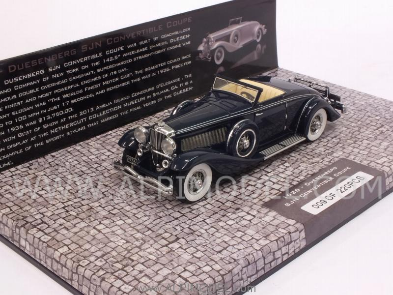 Duesenberg SJN Supercharged Convertible Coupe 1936 (Dark Blue) - minichamps