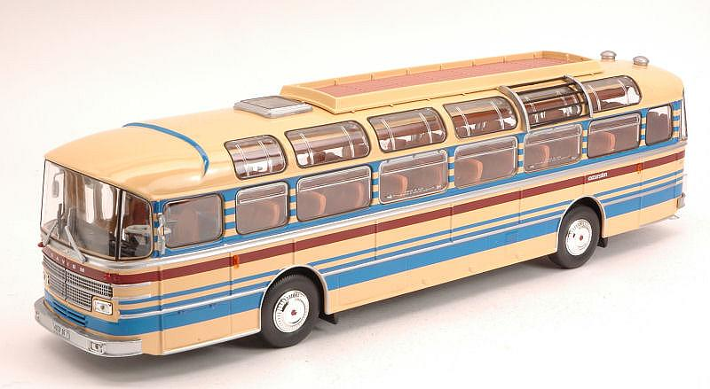 Saviem S53M Bus 1970 (Cream with Red/Blue Stripes) by norev