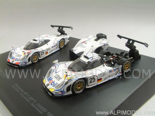 hpi racing porsche 911 gt1 set 26 25 winner le mans 1998 2 cars gift box 1 43 scale model. Black Bedroom Furniture Sets. Home Design Ideas