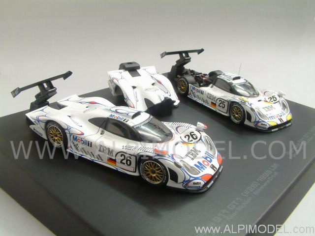 hpi racing porsche 911 gt1 set 26 25 winner le mans 1998 2 cars gift box 1 43 scale model. Black Bedroom Furniture Sets. Home Design Ideas