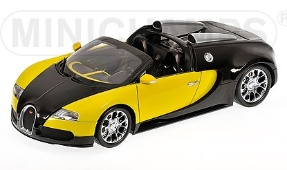 minichamps bugatti veyron grand sport 2009 black yellow 1 18 scale model. Black Bedroom Furniture Sets. Home Design Ideas