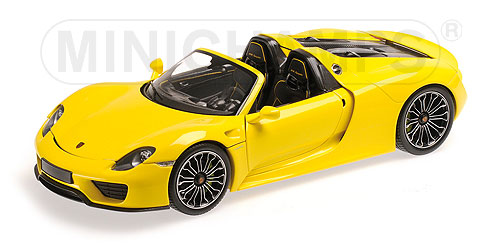 minichamps porsche 918 spyder 2013 yellow 1 18 scale model. Black Bedroom Furniture Sets. Home Design Ideas