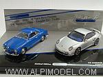 Porsche 911 Turbo 2010 + Volkswagen Karmann Ghia Coupe 1955 - 20 Years Pure Passion Minichamps Set by MINICHAMPS