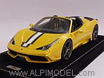 Ferrari 458 Speciale A 2014 (Giallo Tristrato) with display case and Alcantara base by MR COLLECTION