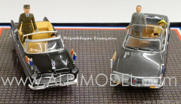 norev citroen sm with queen elizabeth and f mitterrand and simca chambord v8 with general de. Black Bedroom Furniture Sets. Home Design Ideas