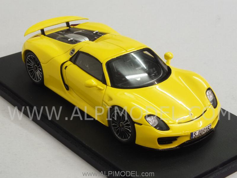 spark model porsche 918 spyder 2013 yellow 1 43 scale model. Black Bedroom Furniture Sets. Home Design Ideas